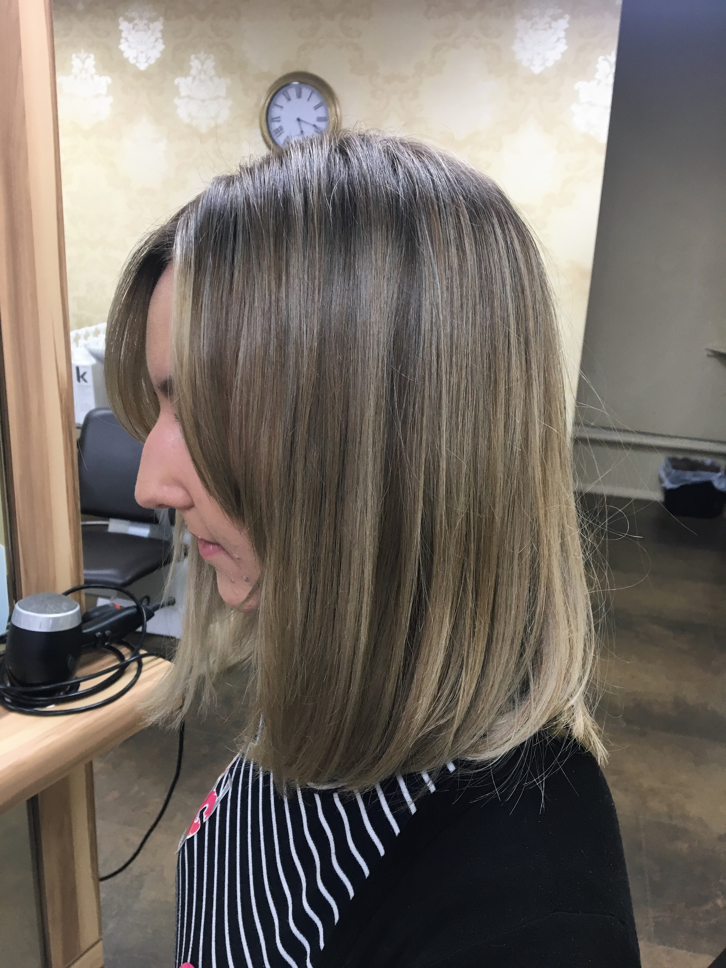 After - Natural but slightly smokey root smudge with a beige toner on existing highlights