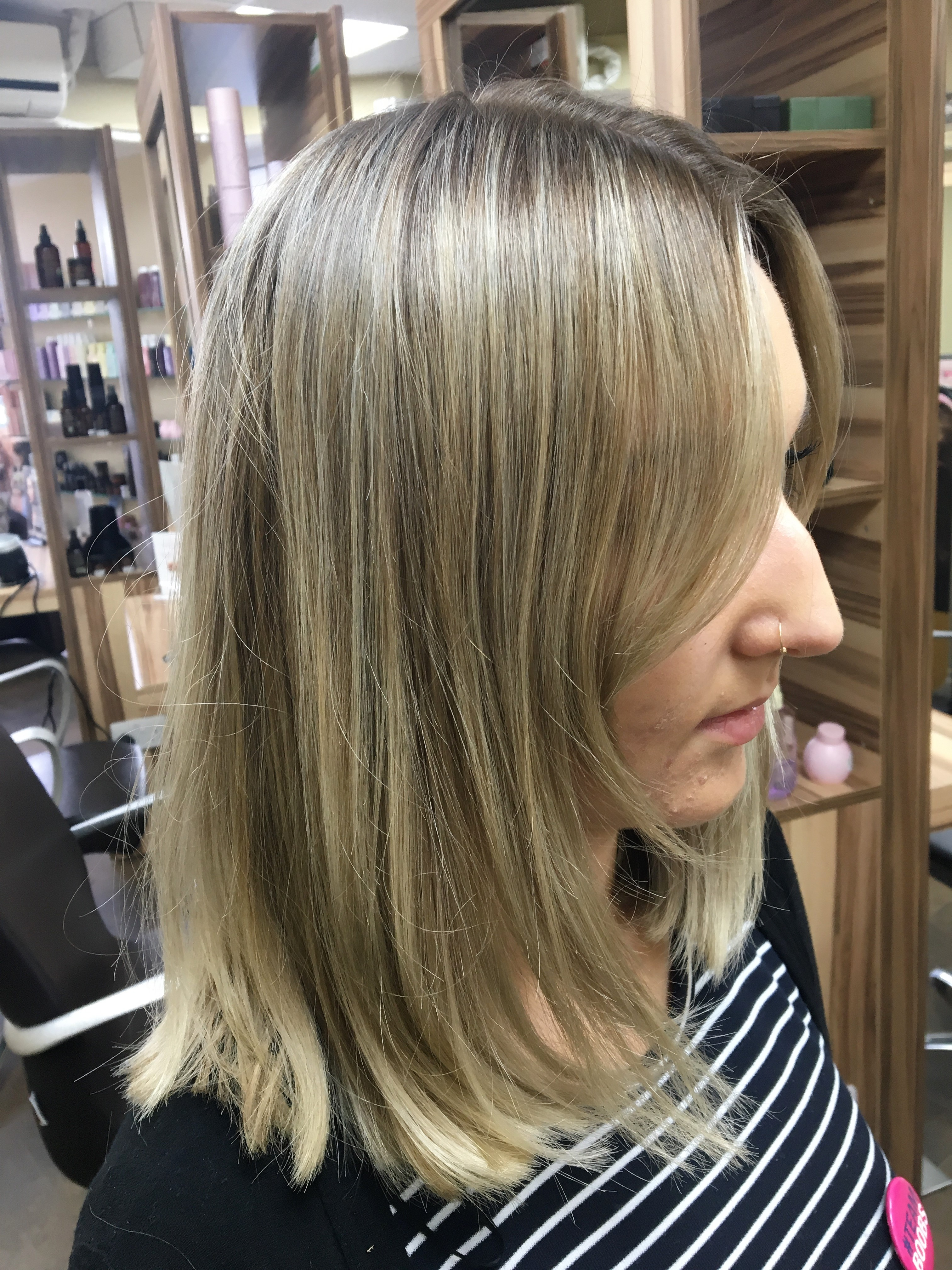 Before - Natural but slightly smokey root smudge with a beige toner on existing highlights