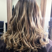 Very pretty, professional balayage look on Lilia - curly option