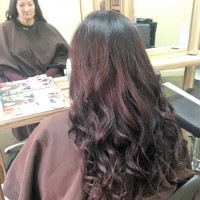 After - Client wanted dark violet brown we added ghd curls to finish the look