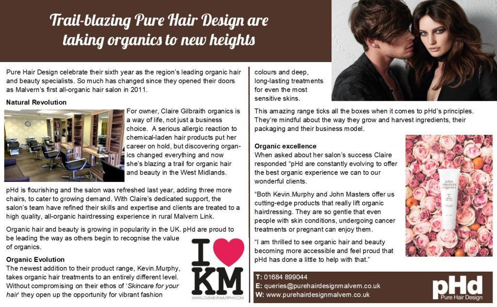 An image of Pure Hair Design's recent article from the Malvern Gazette